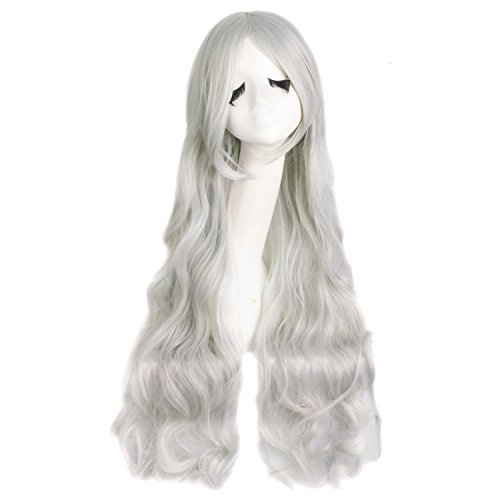 MapofBeauty 31 Inch/80cm Long Hair Spiral Curly Cosplay Costume Wig (Silver Gray) ()