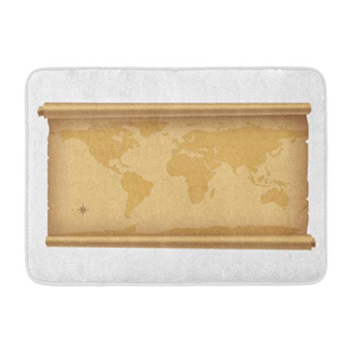 Antique World Map,Darkchocl Decorative Bath Mat Parchment with World Map White Absorbent Non Slip 100% Flannel 17''L x 24''W for Bathroom Toilet Bath Tub Living Room
