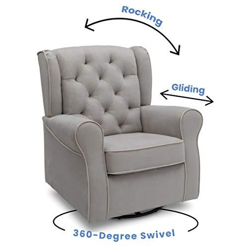 41aerDtzBHL - Delta Children Emerson Upholstered Glider Swivel Rocker Chair, Dove Grey With Soft Grey Welt