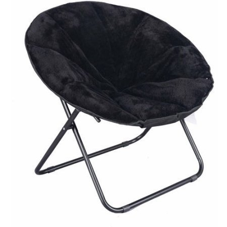 225 lbs Capacity Saucer Folding Chair Plush in Black