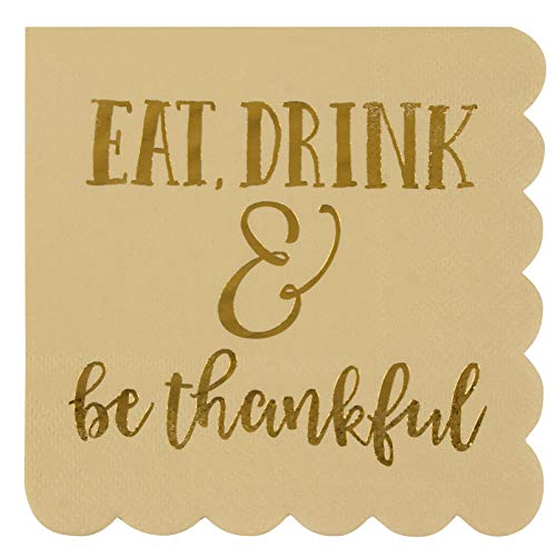 Cocktail Napkins - 50-Pack Disposable Scalloped Paper Napkins, Autumn Thanksgiving Dinner Party Supplies, 3-Ply, Eat Drink Be Thankful, Beige, Unfolded 10 x 10 Inches, Folded 5 x 5 Inches