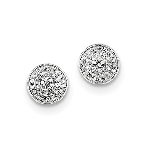 Sterling Silver Rhodium Diamond Round Shaped Screwback Post Earrings by Jewels By Lux