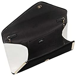BMC Womens Midnight Black PU Faux Leather Envelope Flap Alloy Metal Two Tone White Accented Fashion Clutch Handbag