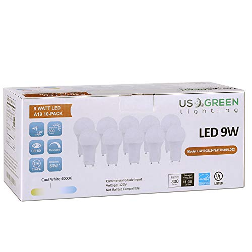 (10 Pack) LED GU24 Twist-in Base A19 Light Bulb, 9W (60W Equivalent), Energy Star, Dimmable, Bi-Pin, 4000K (Neutral White), 800 Lumens, UL Listed.