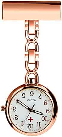 WIOR Nurses Lapel Pin Watch Hanging Medical Doctor Pocket Watch Quartz Movement Nurses Watch with Gift Box (Rose Gold)