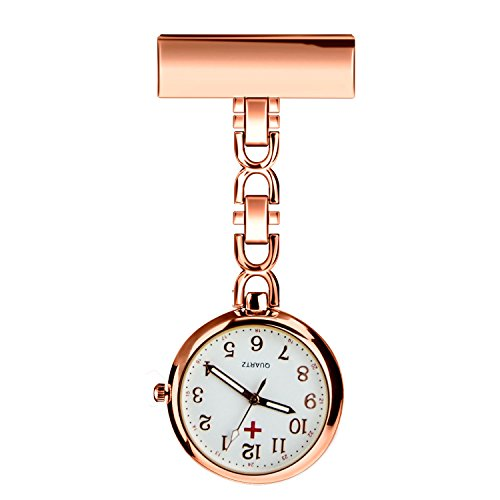 WIOR Nurses Lapel Pin Watch Hanging Medical Doctor Pocket Watch Quartz Movement Nurses Watch with Gift Box (Rose Gold) (568 Rose)