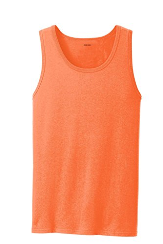 Joe's USA(tm) - Soft 100% Cotton Tank Top-NeonOrange-2XL