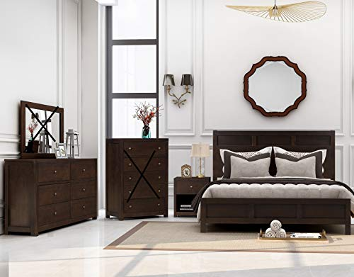 SOFTSEA 3-Piece Bedroom Furniture Set Include Full Size Bed Frame, Nightstand and 6 Drawer Dresser Brown