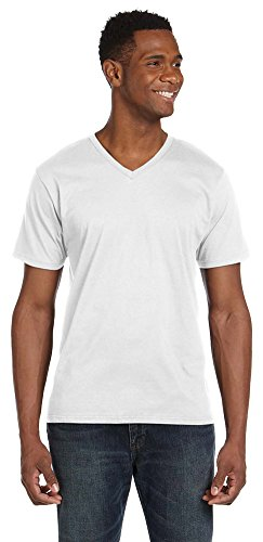 (Anvil Lightweight V-Neck T-Shirt, Large, WHITE )