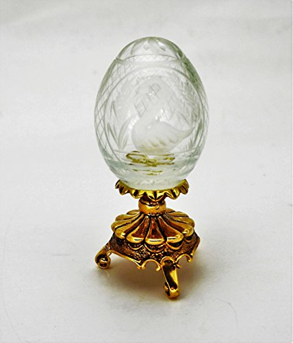 "Faberge Crystal Swan Egg w/Gold stand 4 "" Tall for sale  Delivered anywhere in USA"