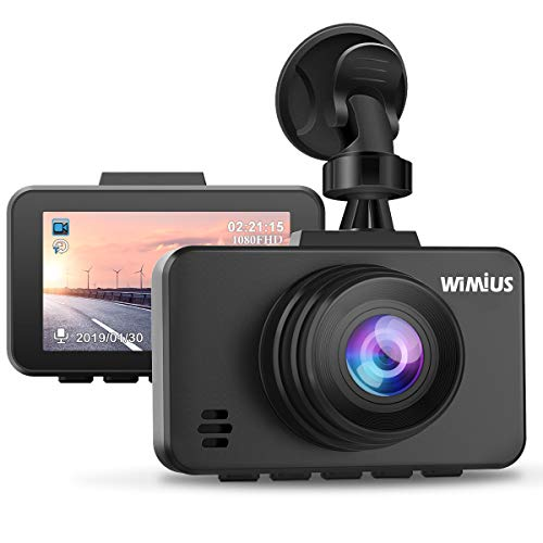 WiMiUS Dash Cam 1080P FHD DVR Dash Camera Car Driving Recorder 2.45' LCD Screen 170°Wide Angle, G-Sensor, WDR, Parking Monitor, Loop Recording, Motion Detection