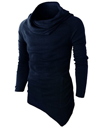 H2H Mens Casual Turtleneck Slim Fit Pullover Sweater Oblique Line Bottom Edge Navy US L/Asia XL (KMTTL046) ()