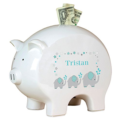 Personalized Grey and Teal Elephant Piggy Bank