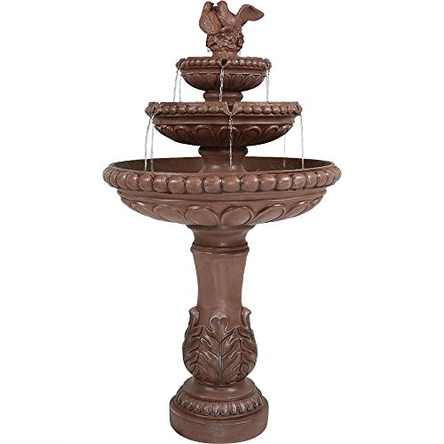 Sunnydaze Three-Tier Dove Pair Outdoor Garden Water Fountain, 43 Inch Tall For Sale