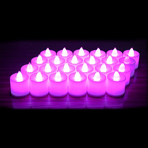 24 Pack LED Tea lights Candles – Steady Flameless Tealight Candle – Battery Operated Electronic Fake Candles – Decoration for Wedding, Party, Dating and Festival Celebration (Pink)