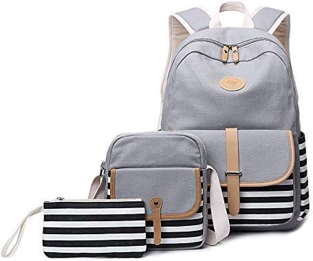 AXROAD MALL Neue einfache weibliche Tasche große Kapazität Canvas Tasche Druck Rucksack Mädchen Junior High School High School College Tasche dreiteilig (Color : Gray)