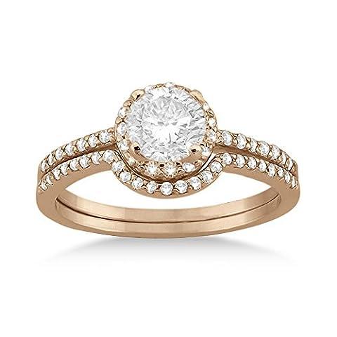 Petite Halo Diamond Engagement Ring and Band 18k Rose Gold (0.40ct) - Cut Halo Petite Diamond