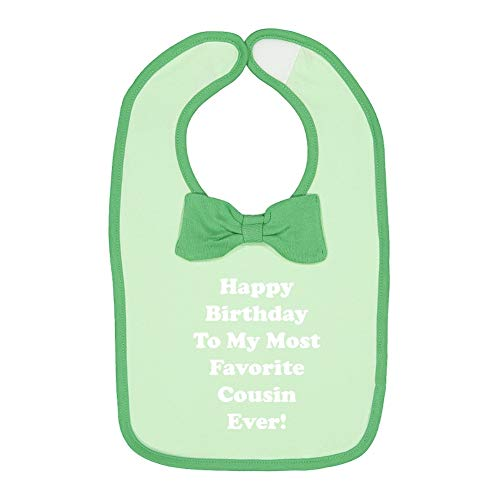 Happy Birthday to My Most Favorite Cousin Ever - Baby Cotton Bow Tie Baby Bib (Mint/Grass) (Happy Birthday To My Best Cousin Ever)