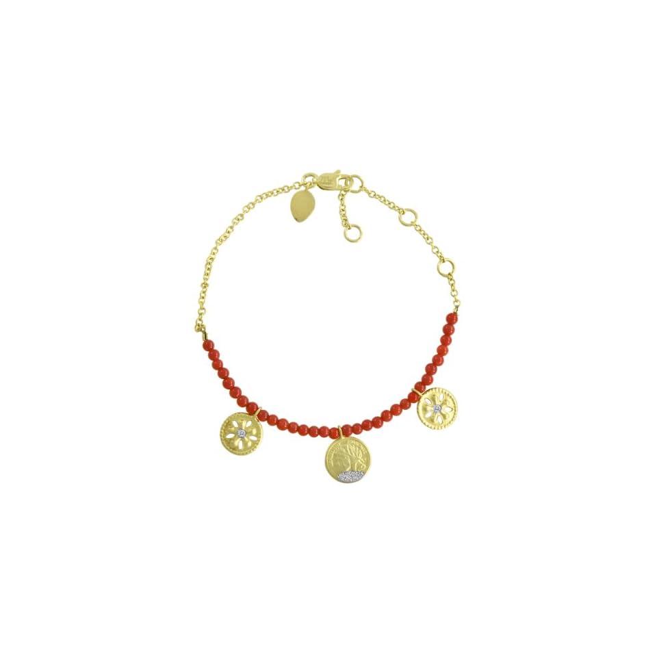 Meira T 14k Yellow Gold Diamond Flower & Coin Charm Beaded Bracelet