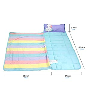 Toddler Nap Mats for Preschool Kinder Daycare – Blanket + Pillow for Boys or Girls – Foldable Comfy Cover (Unicorn)