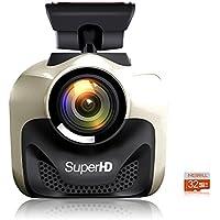 MERRiLL Dash Cam WiFi Mini Size 170° Wide Angle 1296P, Remote Control, Loop Recording, G-sensor, 32G SD Card