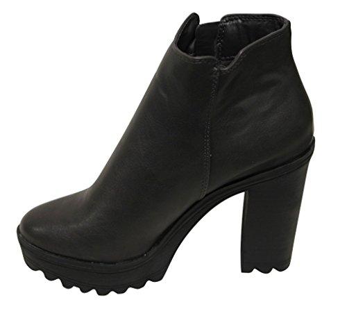 Breckelles Asha-11 Piattaforma Da Donna Tacco Grosso Cinturino Alla Caviglia Con Chiusura A Zip E Stivaletti Alla Caviglia