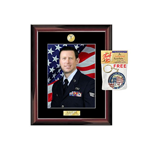 Wall Military Portrait Photo Holder Frame Engraved Military Plaque Soldier Airman Retirement Gift Promotion Army Police Photo Case USMC CIA Navy Law Enforcement Marine Corps Sheriff FBI CIA ()