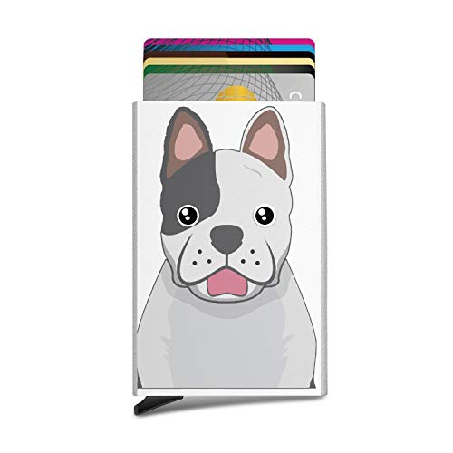 - RFID Card Case French Bulldog Cartoon Paws Elite Credit Card Holder Stainless Steel Front Pocket Wallet Protector