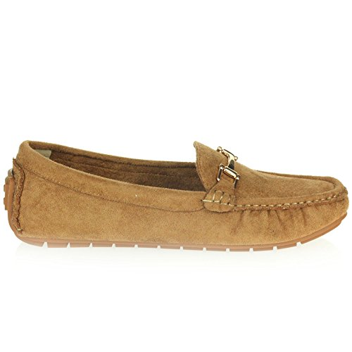 AARZ LONDON Women Ladies Comfort Casual Office Work Loafer Moccasins Closed Toe Flat Slip-On Shoes Size Camel ay3K9