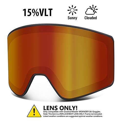 OutdoorMaster Cylindrical Style Replacement Lens - Anti-Fog & 100% UV400 Protection - for Men, Women & Youth - VLT 15% Red
