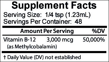 Vitamin B12 Sublingual Liquid Drops Methylcobalamin 3000 mcg Best Supplement to Increase Energy, Enhance Mood, Sharpen Focus and Boost Metabolism Liquid Form for Fast Absorption, Vegan 2 oz