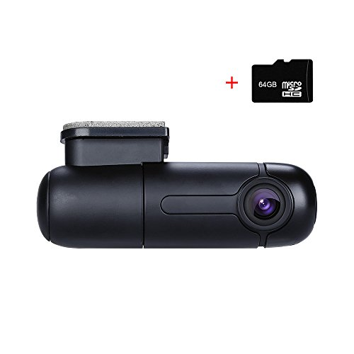 Blueskysea B1W WiFi Mini Dash Cam Car Camera Vehicle Video Driving Recorder 360 Degree Rotatable Lens 1080p 30fps G-Sensor Loop Recording (B1W with 64GB TF Card)