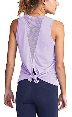 Women's Mesh Tank Tops for Yoga Open Back Sleeveless Workout Shirts Activewear Purple S