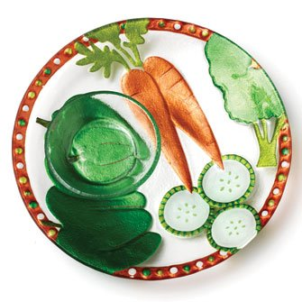 Glass Fusion Chip - Veggie Glass Fusion Chip and Dip Platter by Lori Siebert
