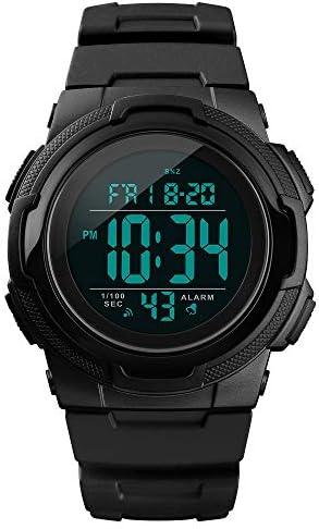 Mens Digital Sports Watch Waterproof Sport Watch Multifunction Watch Plastic Electronic Watch with Alarm Date Countdown Timer Stopwatch