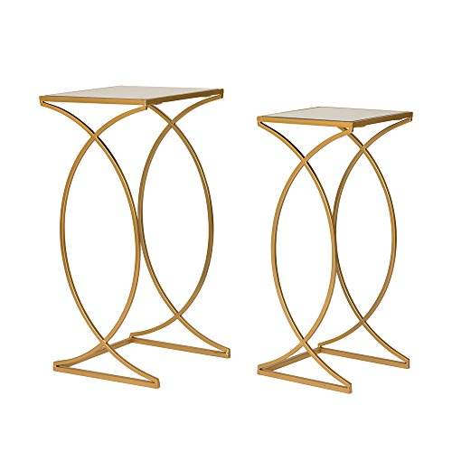 Glitzhome Glass Top Accent Table Metal Curve Legs Coffee Table Set of (Glass Set Accent Table)