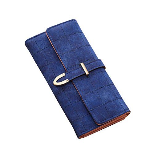 (Kukoo Women Suede Leather Long Wallet Argyle Plaid Pattern Slip-on Clutch Bag Credit Card Holder)