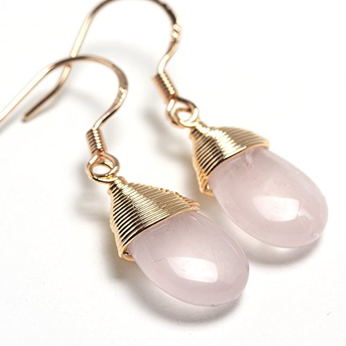 (Natural Stone Wire Wrap Dangle Drop Earrings Gold Plated 925 Sterling Silver Hook/Rose Quartz Water Drop)