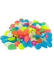 احجار زينة تتوهج في الظلام 300 قطعة لحوض الاسماك والمزهريات والديكور، لتركيبها بنفسك (الوان مختلطة)