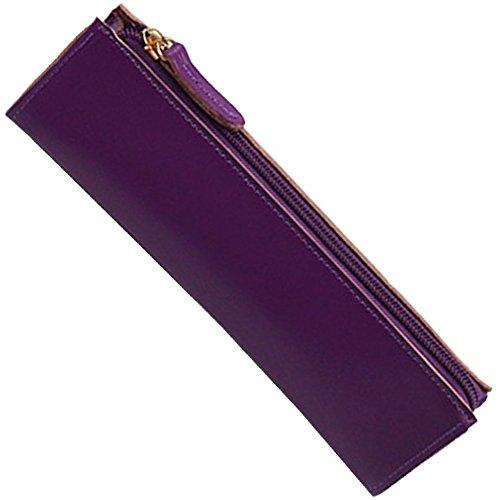 Da Jia Inc Handgefertigt Federmäppchen aus Leder - Wasserdicht Kosmetiktasche Reise Geldbeutel Toiletry Bag Bleistift Feder Handtasche Mehrfarbig Tasche - Kaffee Purple