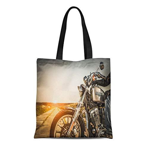 Semtomn Canvas Tote Bag Shoulder Bags Russia July 7 Biker on Bike Harley Sportster Sustains Women's Handle Shoulder Tote Shopper Handbag