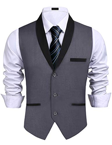 Daupanzees Mens Vests Adult Gangster Suit Vest Premium Dress Coat Waistcoat Blazer 3 Button Vests (Gray L) -