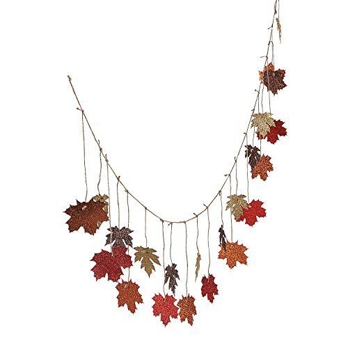 Glittered Maple Leaves Garland 6 ft by CusCus
