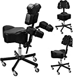 Brand New InkBed Patented Adjustable Ergonomic Chair Stool Chest Back Rest Support Tattoo Studio Equipment (Black)