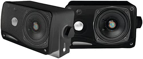 Pyle PLMR24B 3.5-Inch 200 Watt 3-Way Weather Proof Mini Box Speaker System (Black)