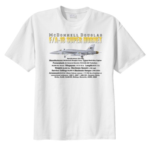 WarbirdShirts Men's Mcdonnell Douglas F/A-18 Super Hornet Short Sleeve T-Shirt Adult 3XL