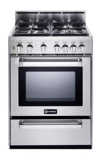 Verona VEFSGG244NSS 24″ Pro-Style All Gas Range Oven Convection Stainless Steel
