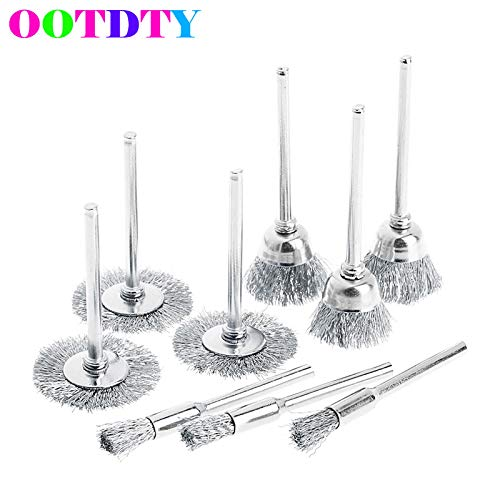 VHLL 9pcs/lot Steel Brush Wire Wheel Brushes Die Grinder Rotary Electric Tool for Engraver APR21 NEW PRODUCT -
