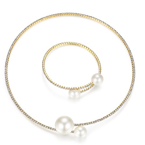 Choker Color (mecresh Gold Color Simulated Pearl Choker Necklace Bracelet Jewelry Set)