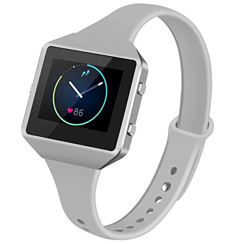 YiJYi Bands Compatible with Fitbit Blaze,Slim Soft Silicone Band with Metal Frame Replacement Strap Wristband for Women Men (Small(5.5-7.5), Grey+New Frame Silver)